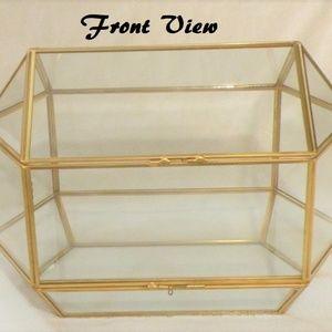 New Brass Glass Geometric Wedding Box Terrarium